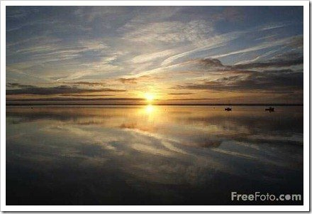 Sunset over the sea from Hoylake, Wirral, Merseyside