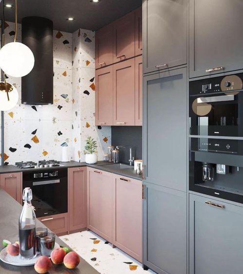 Cocina pequeña con detalles en suelo y pared