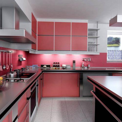 Cocina moderna en aluminio y rojo