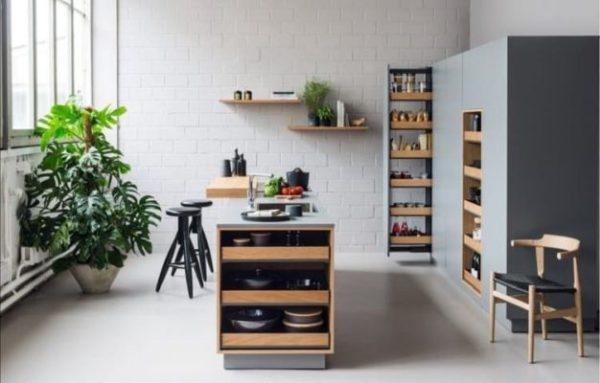 Cocina moderna con compartimentos