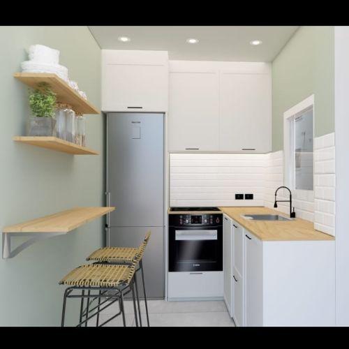 Cocina moderna con estantes