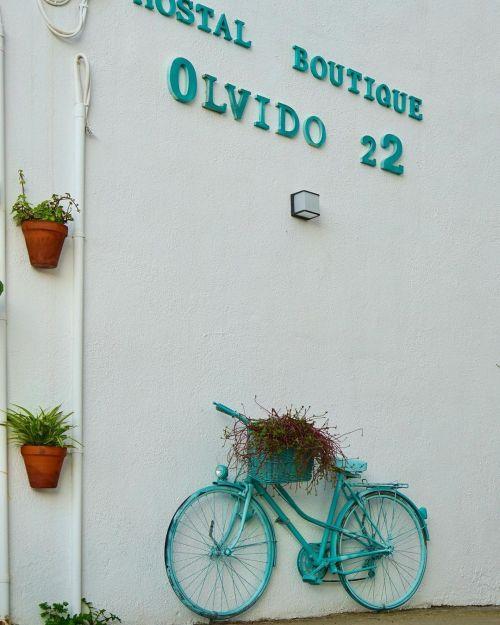 Fachada decorada con bicicleta y flores