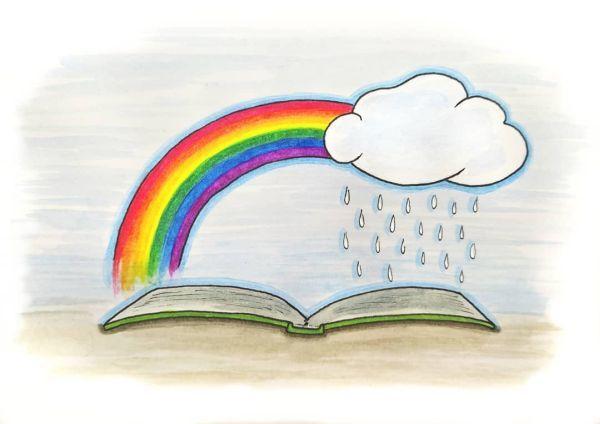 Libro con lluvia y arcoiris