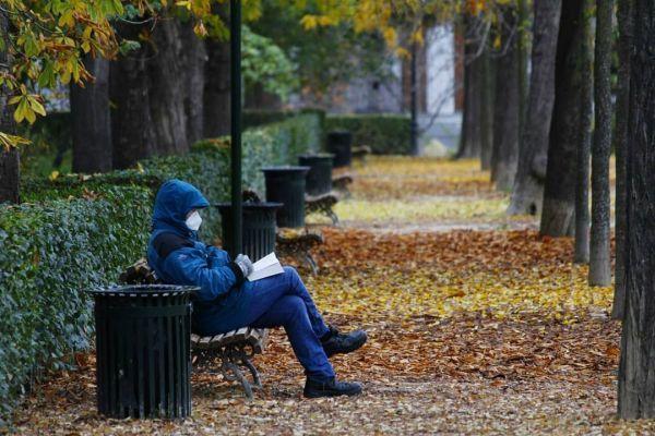 Leyendo en el parque otoñal con mascarilla