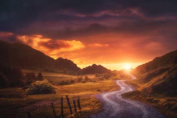 Las mejores fotos de paisajes PUESTA DE SOL carretera montaña