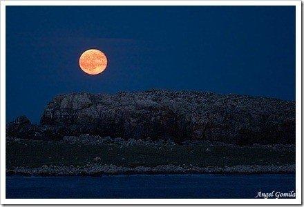 luna roja en paisaje