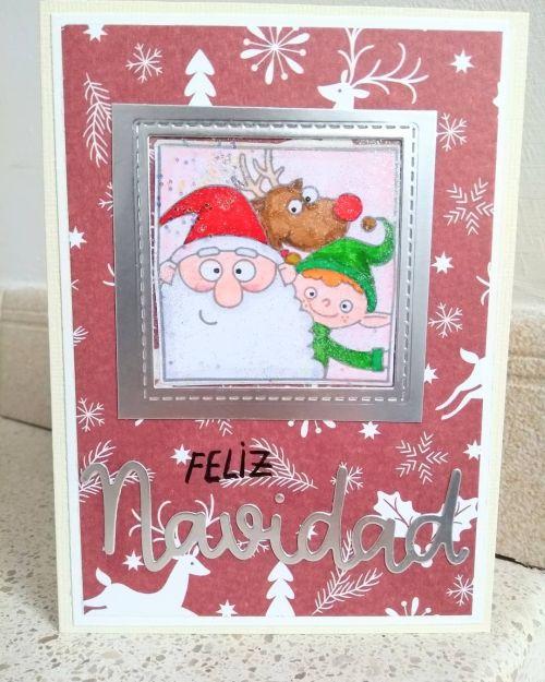 Postal navideña con Papa Noel, reno y duende